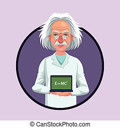 character scientist physical board with formula purple icon...