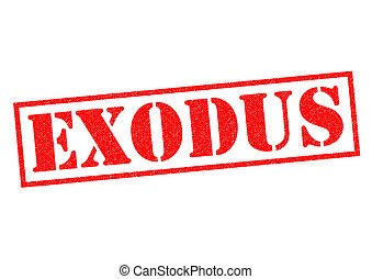 EXODUS red Rubber Stamp over a white background.