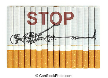 Stop smoking word on cigarettes