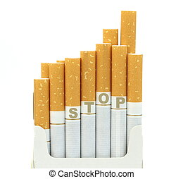 Stop smoking cigarettes in a box close up image