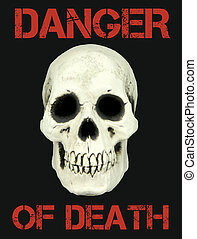 Human skull and Danger of death concept close up image