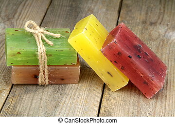 Colorful natural herbal soaps close up image
