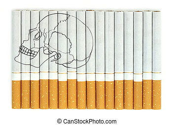Smoking kills, Conceptual image with skull on cigarettes
