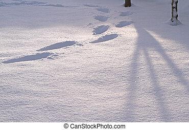 Snow footprints and shadows close up image