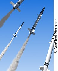 launched missiles - 3d rendered illustration of missiles in...