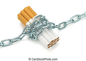 Chained cigarettes close up image