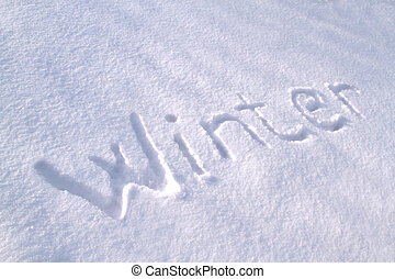 """ Winter "" text on snow close up image"