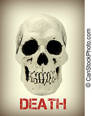 Human skull with the sample text death close up image