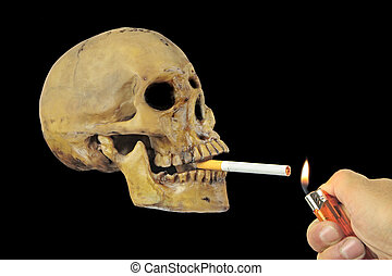 Smoking kills or Stop smoking conceptual image with skull