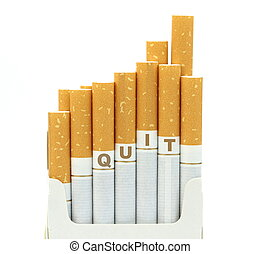 Quit word on cigarettes on white background