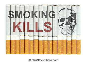 Smoking kills word on cigarettes close up image