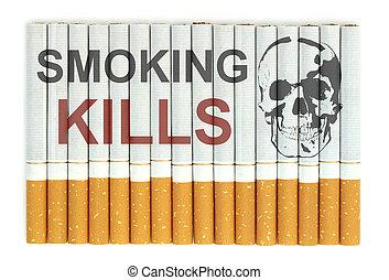 Smoking kills word on cigarettes close up image