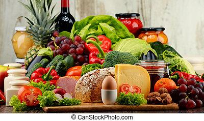 有机, 肉, 食物, 蔬菜, 水果, 包括, 奶制品,  bread