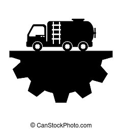 Gasoline car with half pinion vector illustration