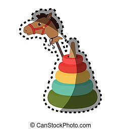 sticker colorful set pyramid toy with Stick horse vector...