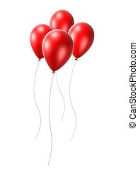red ballons - 3d rendered illustration of some isolated...