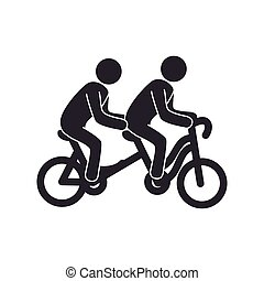 set with bicycle tandem and people pictograms vector...