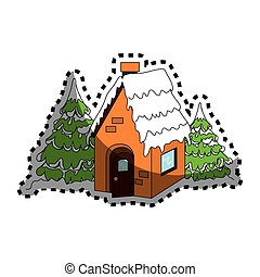 house in winter isolated icon