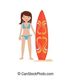 woman in bikini with surf board
