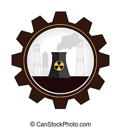 gear wheel shape border with factory radioactive material