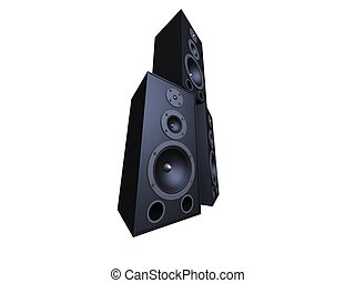 black speakers - 3d rendered illustration of three isolated...