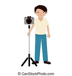 Man photographer with professional camera on tripod
