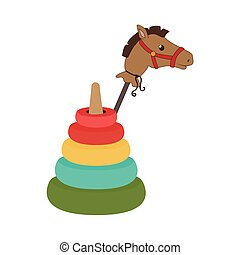 colorful set pyramid toy with Stick horse vector...