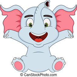 Baby elephant cartoon - full color