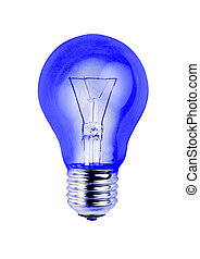 Blue light bulb isolated on white background.