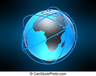3d globe - 3d rendered illustration of a ring around a globe...