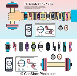 Fitness trackers on the hand - Thin line flat design of...