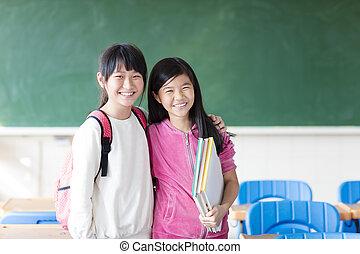 教室, ティーンエージャーの, 女の子, 2, 学生