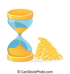 hour glass, coins, time is money, vector