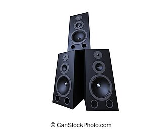 black speakers - 3d rendered illustration of some isolated...
