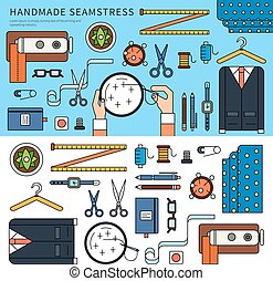 Handmade seamstress set - Thin line flat design of the...