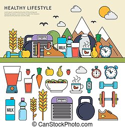 Healthy lifestyle set - Thin line flat design of the healthy...