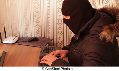 Hacker theft working with computer. Great video for and...