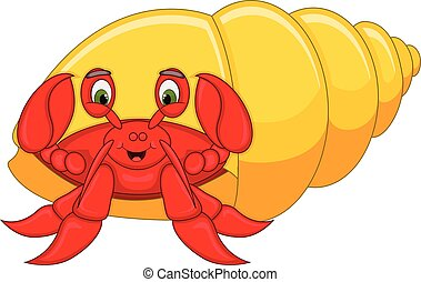 Cute hermit crab cartoon - full color