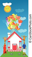 giraffe with a lot of balloons in the house