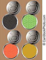 Cans of different products. - Cans with different kinds of...