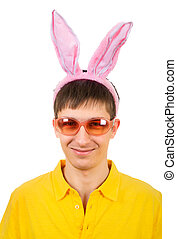 Teenager with Bunny Ears - Young Man in Bunny Ears Isolated...