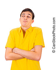 Grumpy Young Man Isolated on the White Background