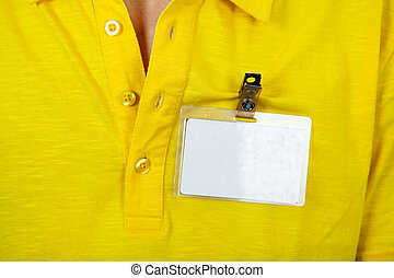 Person with Empty Badge - Person with the Blank Badge on the...