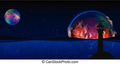 Fire planet signal space lighthouse