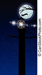 Sky vertical orientation moon trees night lighthouse