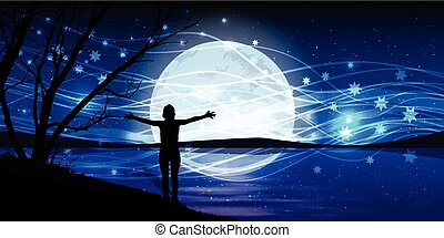 Moon on the night sky. man hands stretch magic silhouette of...
