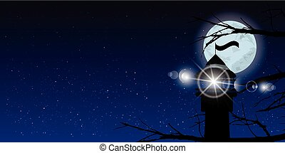 Sky moon trees night lighthouse light signal