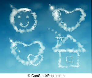 house, smile, cloud heart. illustration. against the sky....