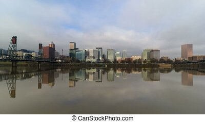 Time lapse of clouds and water reflection Portland Oregon 4k...