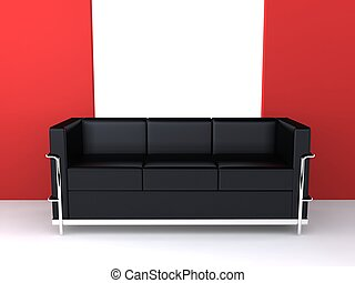 designer sofa - 3d rendered illustration of a black designer...